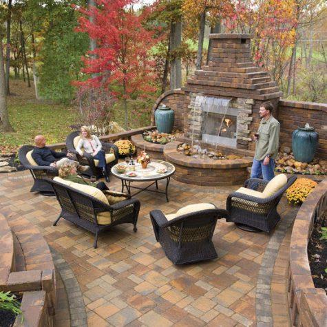 Custom Verona Fireplace Old Towne Adobe Blend Paver deck